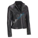 Biker / Motorcycle Jacket - Women Real Lambskin Leather Biker Jacket KW145 - Koza Leathers