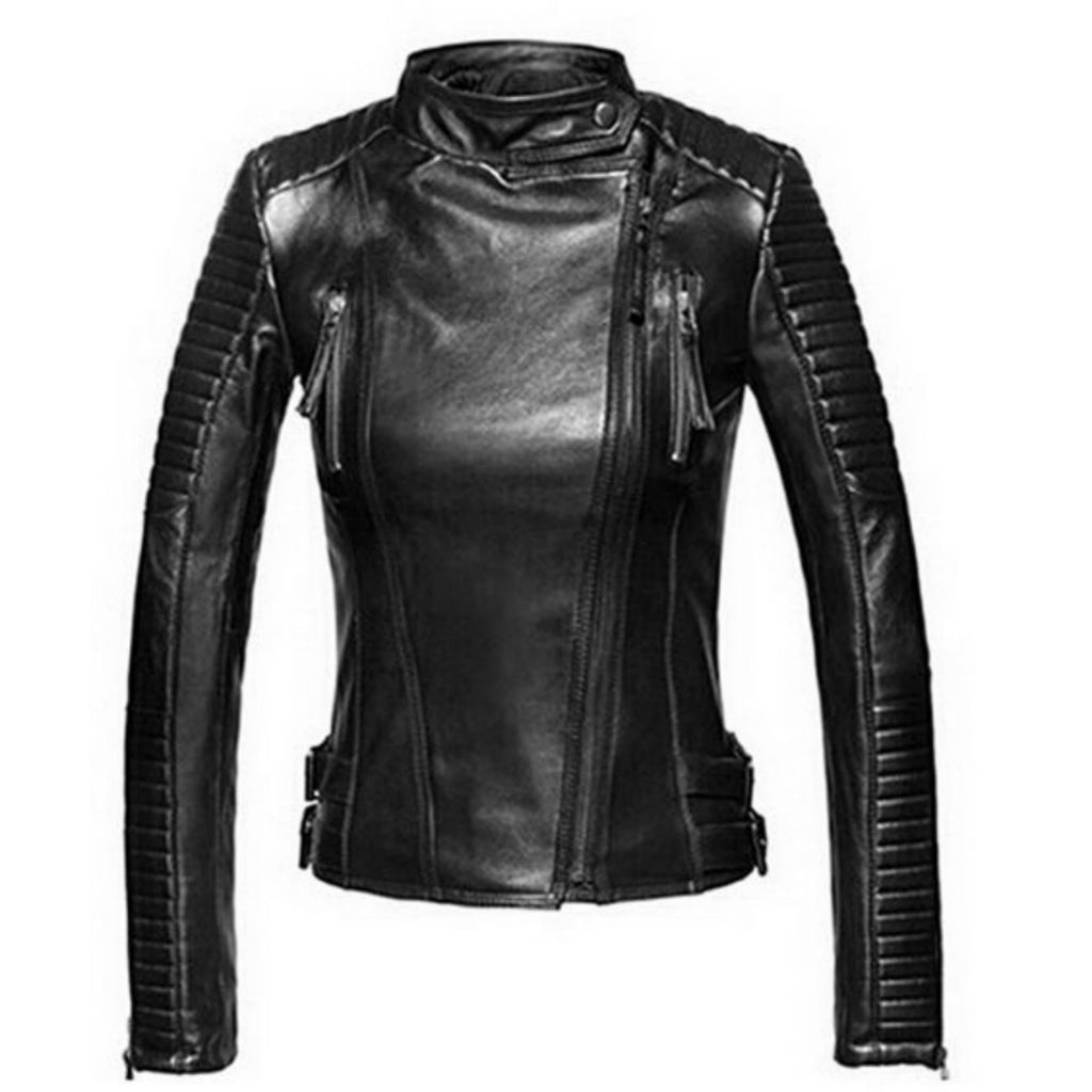 Biker / Motorcycle Jacket - Women Real Lambskin Leather Biker Jacket KW489 - Koza Leathers