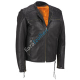 Biker Jacket - Men Real Lambskin Motorcycle Leather Biker Jacket KM186 - Koza Leathers