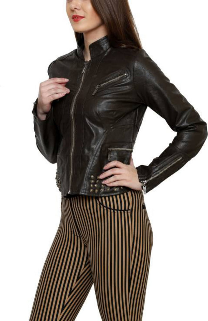 Biker / Motorcycle Jacket - Women Real Lambskin Leather Biker Jacket KW421 - Koza Leathers