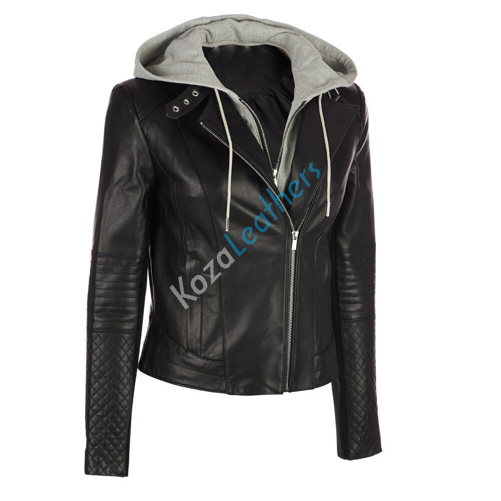 Biker / Motorcycle Jacket - Women Real Lambskin Leather Biker Jacket KW146 - Koza Leathers