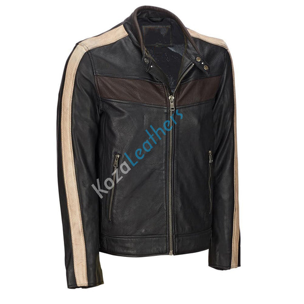 Biker Jacket - Men Real Lambskin Motorcycle Leather Biker Jacket KM187 - Koza Leathers