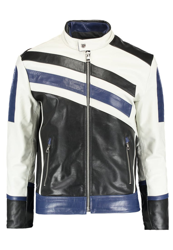 Biker Jacket - Men Real Lambskin Motorcycle Leather Biker Jacket KM291 - Koza Leathers