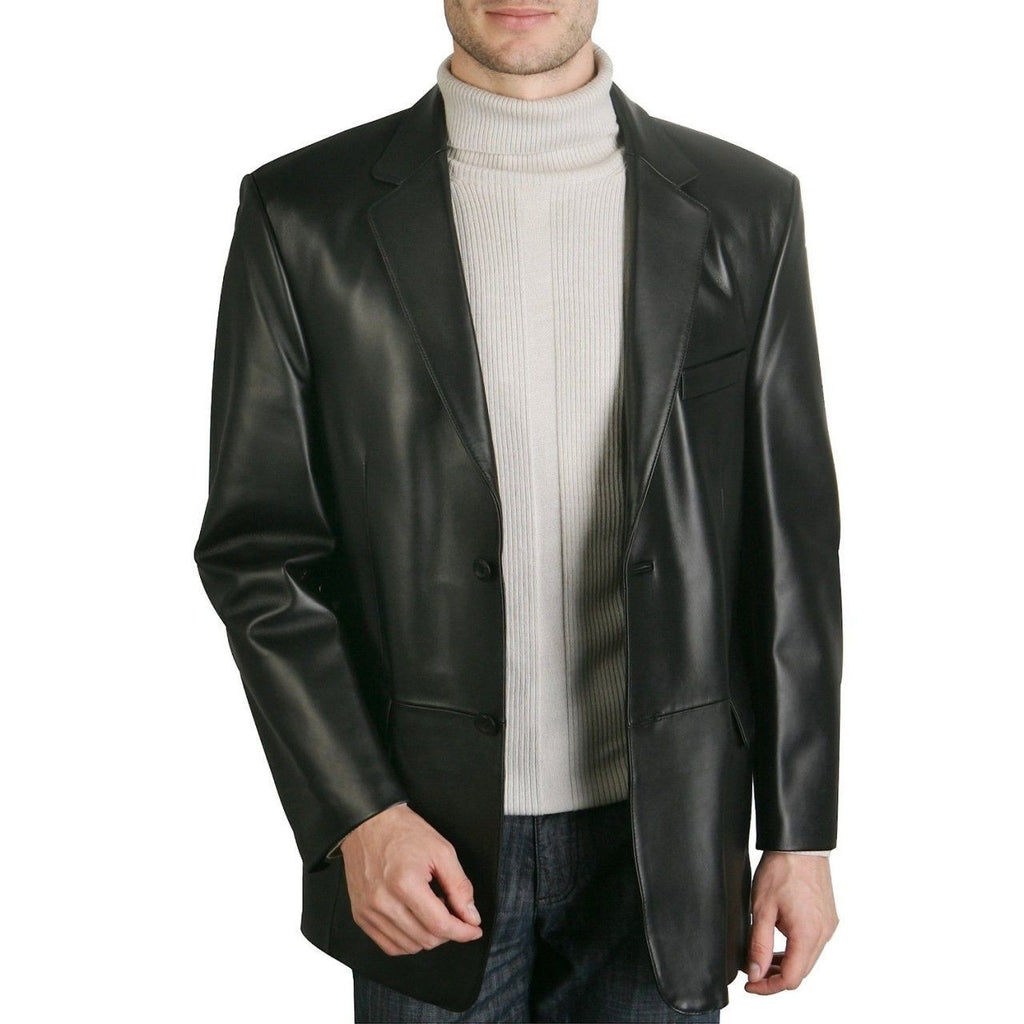 Leather Blazer - Men Real Sheepskin Leather Blazer KB014 - Koza Leathers