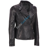 Biker / Motorcycle Jacket - Women Real Lambskin Leather Biker Jacket KW148 - Koza Leathers