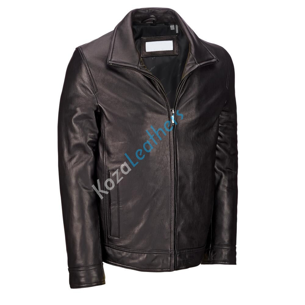 Biker Jacket - Men Real Lambskin Motorcycle Leather Biker Jacket KM189 - Koza Leathers