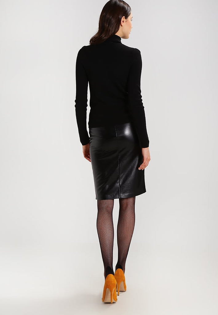 Knee Length Skirt - Women Real Lambskin Leather Slim Fit Skirt WS092 - Koza Leathers