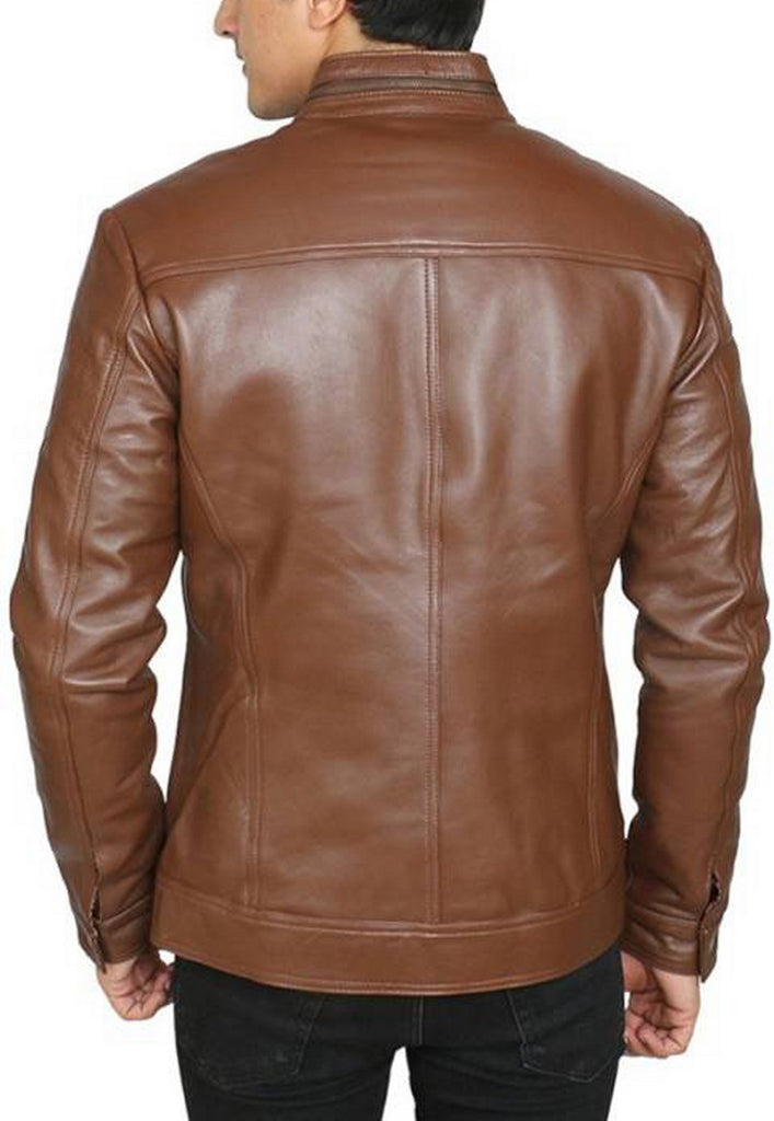 Biker Jacket - Men Real Lambskin Motorcycle Leather Biker Jacket KM442 - Koza Leathers