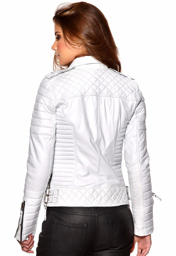 Biker / Motorcycle Jacket - Women Real Lambskin Leather Biker Jacket KW060 - Koza Leathers