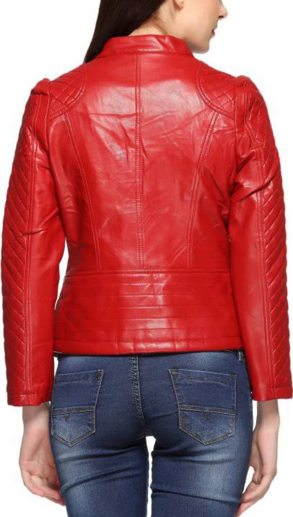 Biker / Motorcycle Jacket - Women Real Lambskin Leather Biker Jacket KW426 - Koza Leathers
