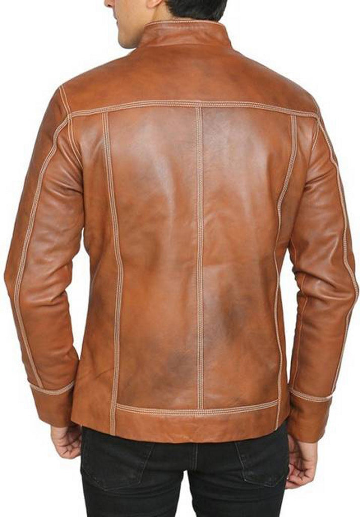 Biker Jacket - Men Real Lambskin Motorcycle Leather Biker Jacket KM444 - Koza Leathers