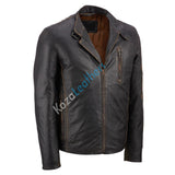 Biker Jacket - Men Real Lambskin Motorcycle Leather Biker Jacket KM190 - Koza Leathers