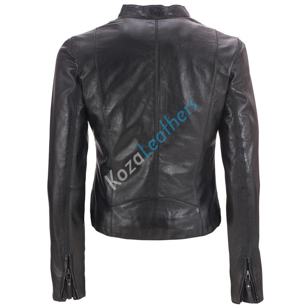 Biker / Motorcycle Jacket - Women Real Lambskin Leather Biker Jacket KW151 - Koza Leathers