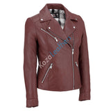 Women Real Lambskin Leather Biker Jacket KW099