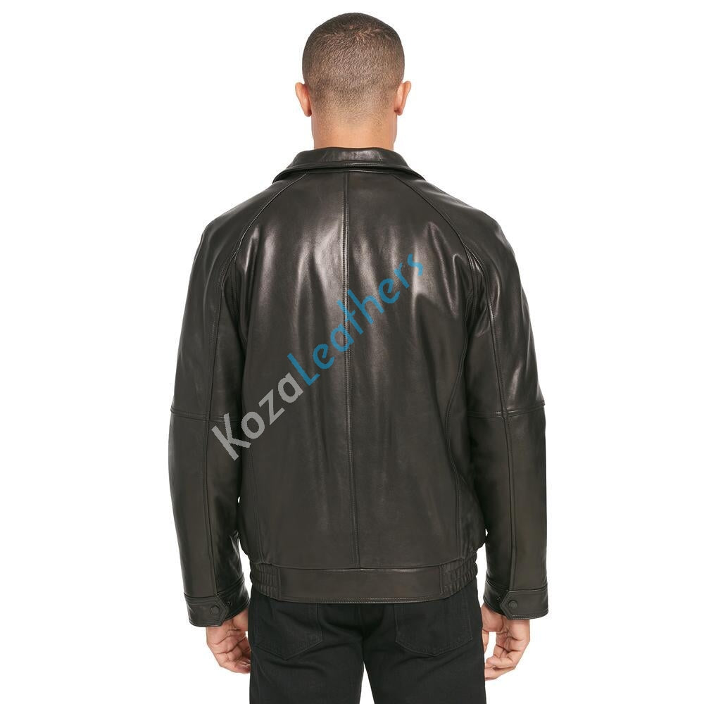 Biker Jacket - Men Real Lambskin Motorcycle Leather Biker Jacket KM154 - Koza Leathers