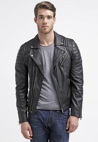 Biker Jacket - Men Real Lambskin Leather Jacket KM028 - Koza Leathers