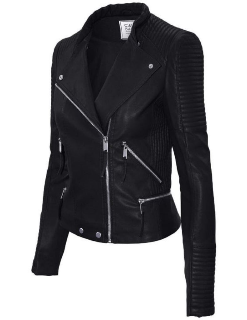 Biker / Motorcycle Jacket - Women Real Lambskin Leather Biker Jacket KW345 - Koza Leathers