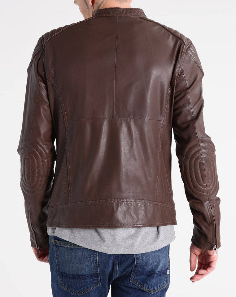 Biker Jacket - Men Real Lambskin Motorcycle Leather Biker Jacket KM300 - Koza Leathers