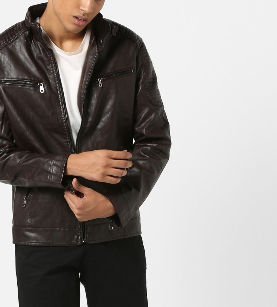 Biker Jacket - Men Real Lambskin Motorcycle Leather Biker Jacket KM670 - Koza Leathers