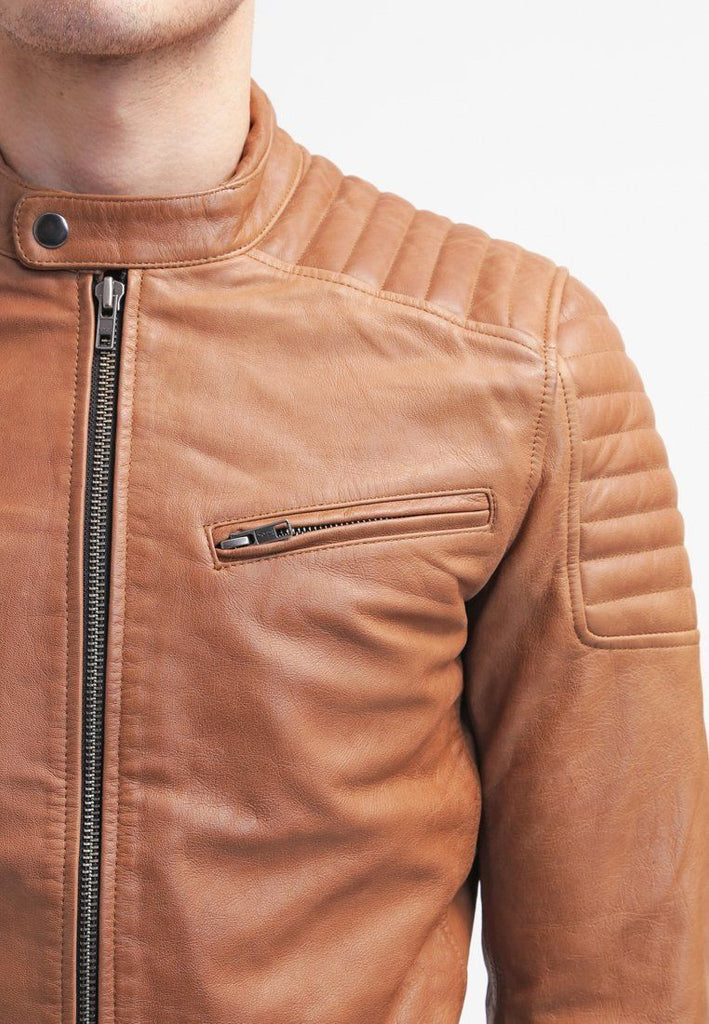Biker Jacket - Men Real Lambskin Leather Jacket KM030 - Koza Leathers