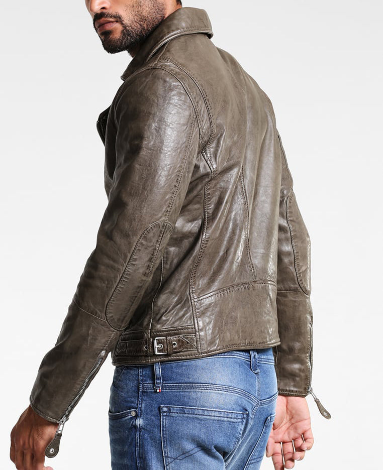 Biker Jacket - Men Real Lambskin Motorcycle Leather Biker Jacket KM303 - Koza Leathers