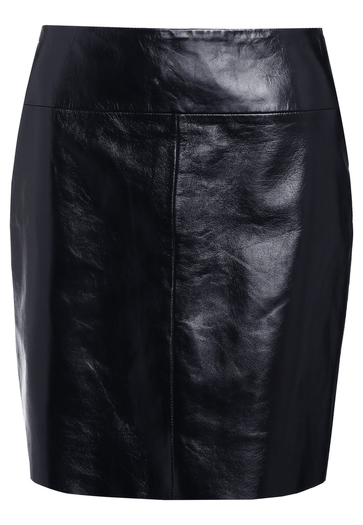 Knee Length Skirt - Women Real Lambskin Leather Slim Fit Skirt WS102 - Koza Leathers