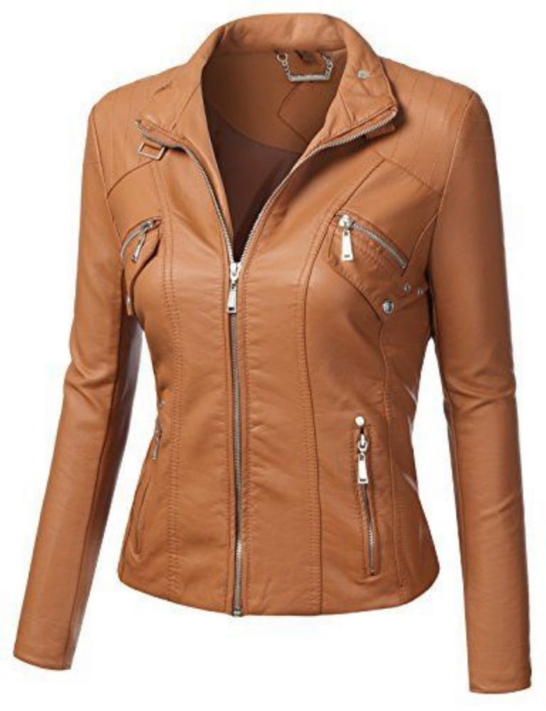 Biker / Motorcycle Jacket - Women Real Lambskin Leather Biker Jacket KW504 - Koza Leathers