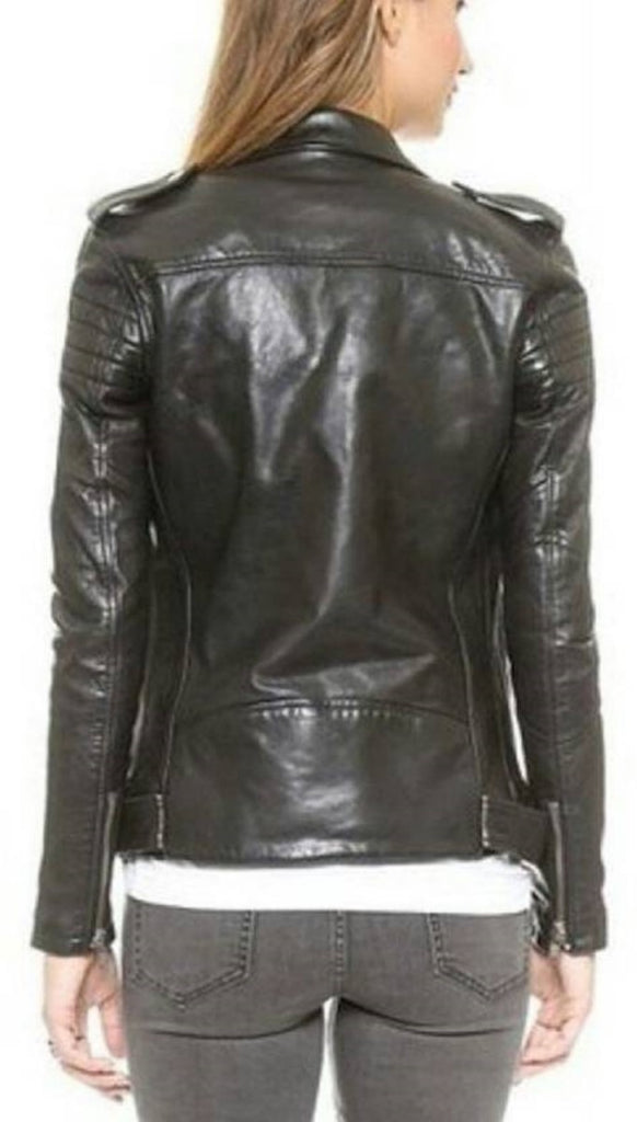 Biker / Motorcycle Jacket - Women Real Lambskin Leather Biker Jacket KW436 - Koza Leathers