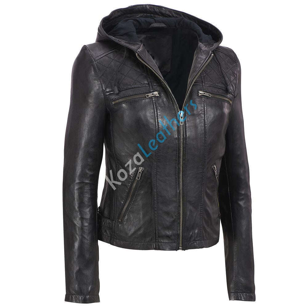 Biker / Motorcycle Jacket - Women Real Lambskin Leather Biker Jacket KW161 - Koza Leathers