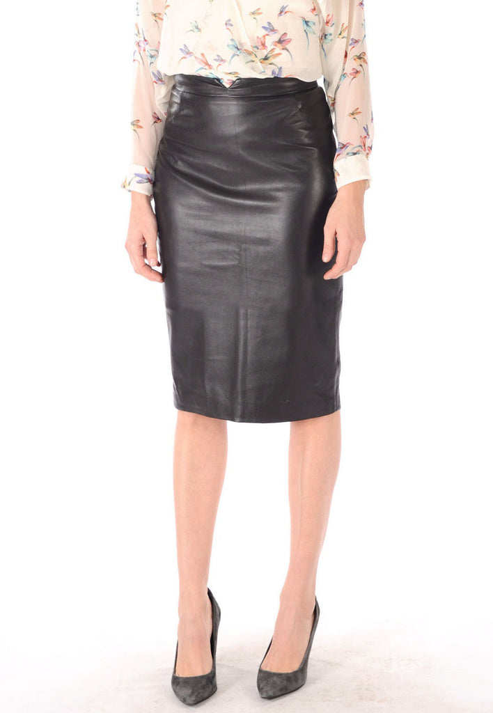 Knee Length Skirt - Women Real Lambskin Leather Slim Fit Skirt WS047 - Koza Leathers