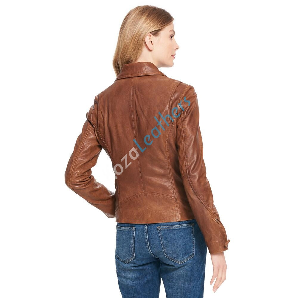 Biker / Motorcycle Jacket - Women Real Lambskin Leather Biker Jacket KW100 - Koza Leathers