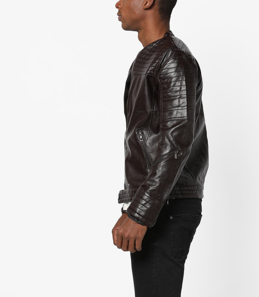 Biker Jacket - Men Real Lambskin Motorcycle Leather Biker Jacket KM677 - Koza Leathers