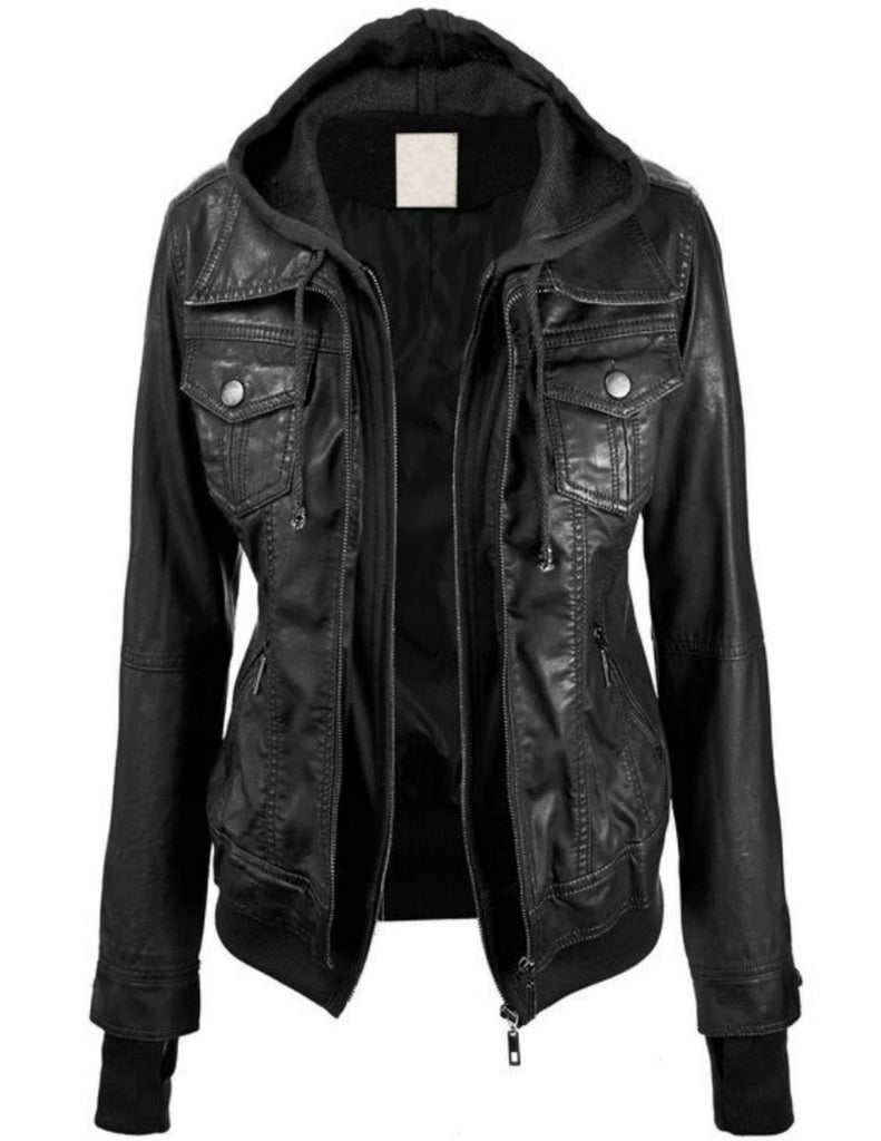 Biker / Motorcycle Jacket - Women Real Lambskin Leather Biker Jacket KW507 - Koza Leathers