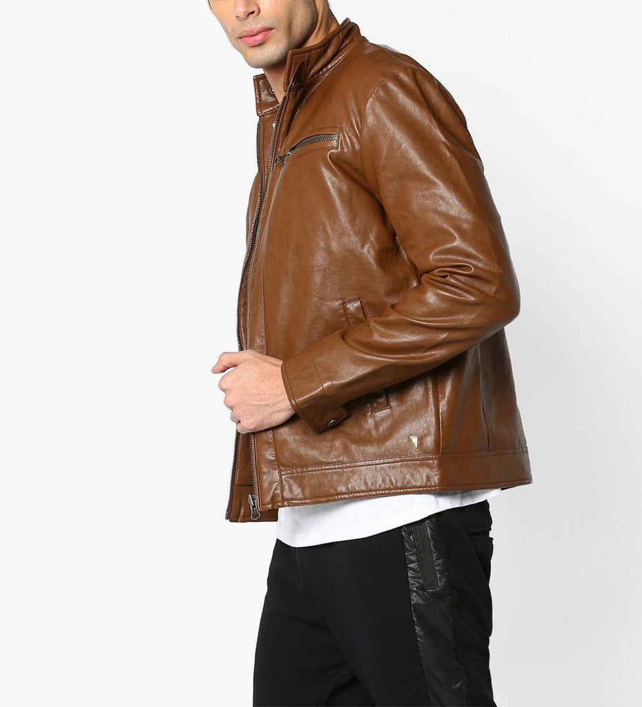 Biker Jacket - Men Real Lambskin Motorcycle Leather Biker Jacket KM679 - Koza Leathers