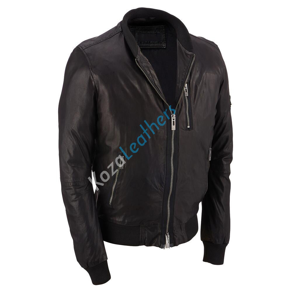 Koza Leathers Men's Genuine Lambskin Bomber Leather Jacket NJ046