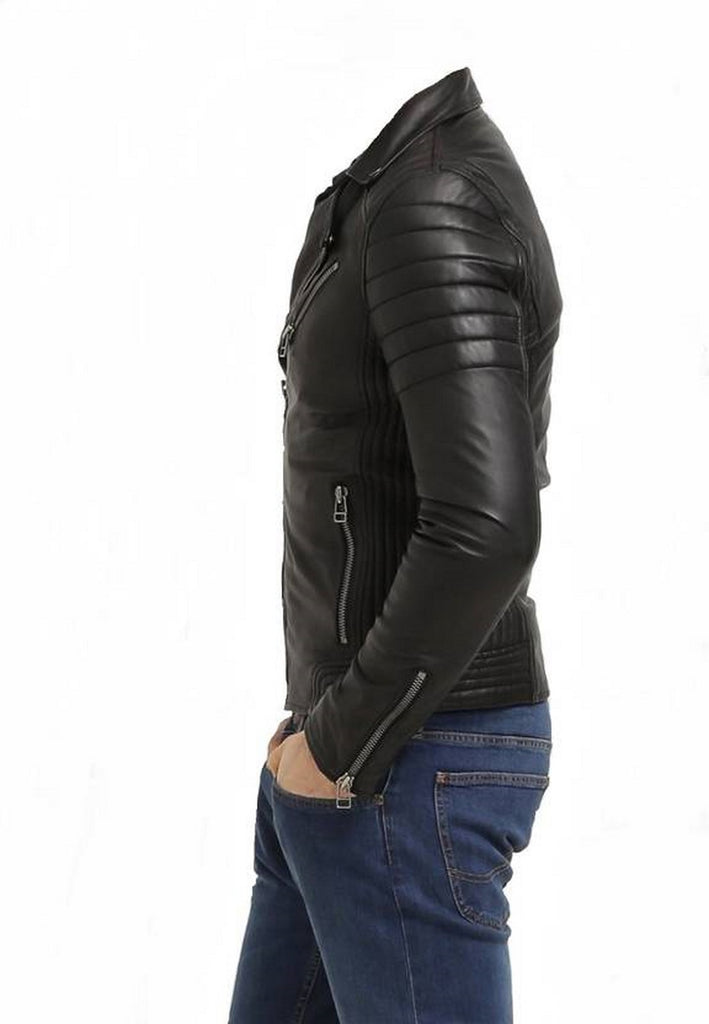 Biker Jacket - Men Real Lambskin Motorcycle Leather Biker Jacket KM461 - Koza Leathers
