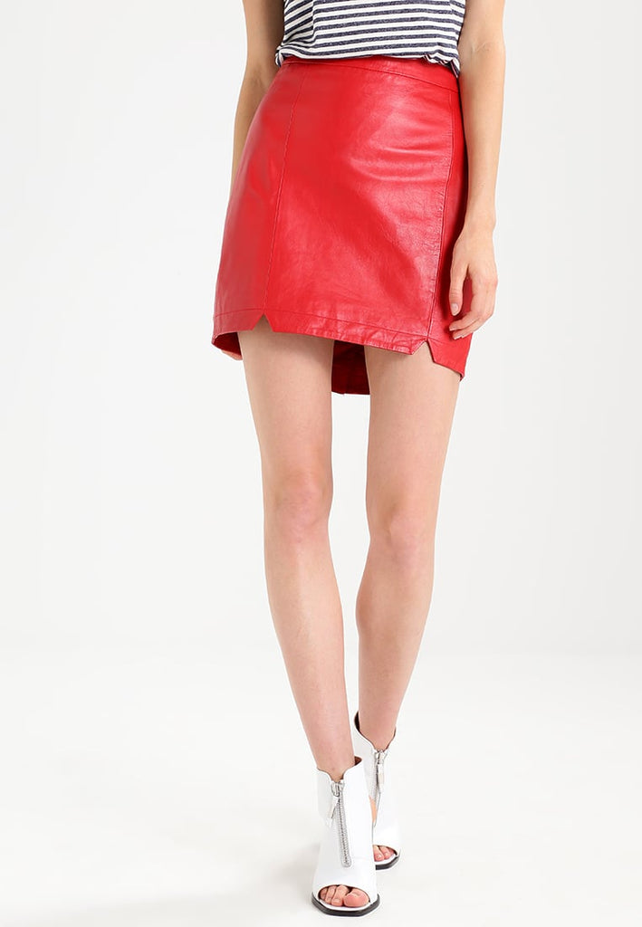 Knee Length Skirt - Women Real Lambskin Leather Mini Skirt WS114 - Koza Leathers