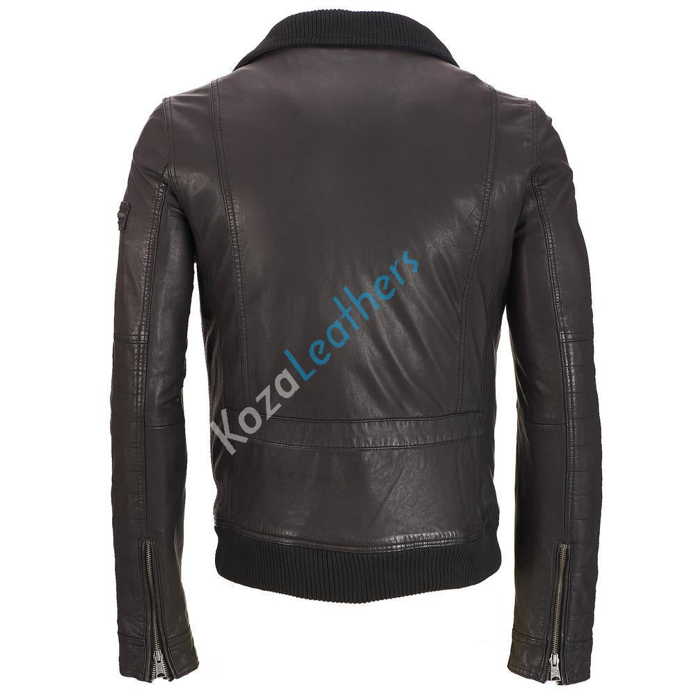 Biker Jacket - Men Real Lambskin Motorcycle Leather Biker Jacket KM197 - Koza Leathers