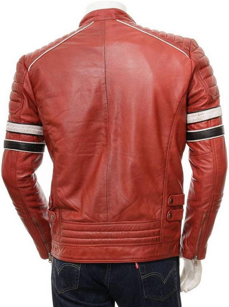 Biker Jacket - Men Real Lambskin Motorcycle Leather Biker Jacket KM464 - Koza Leathers
