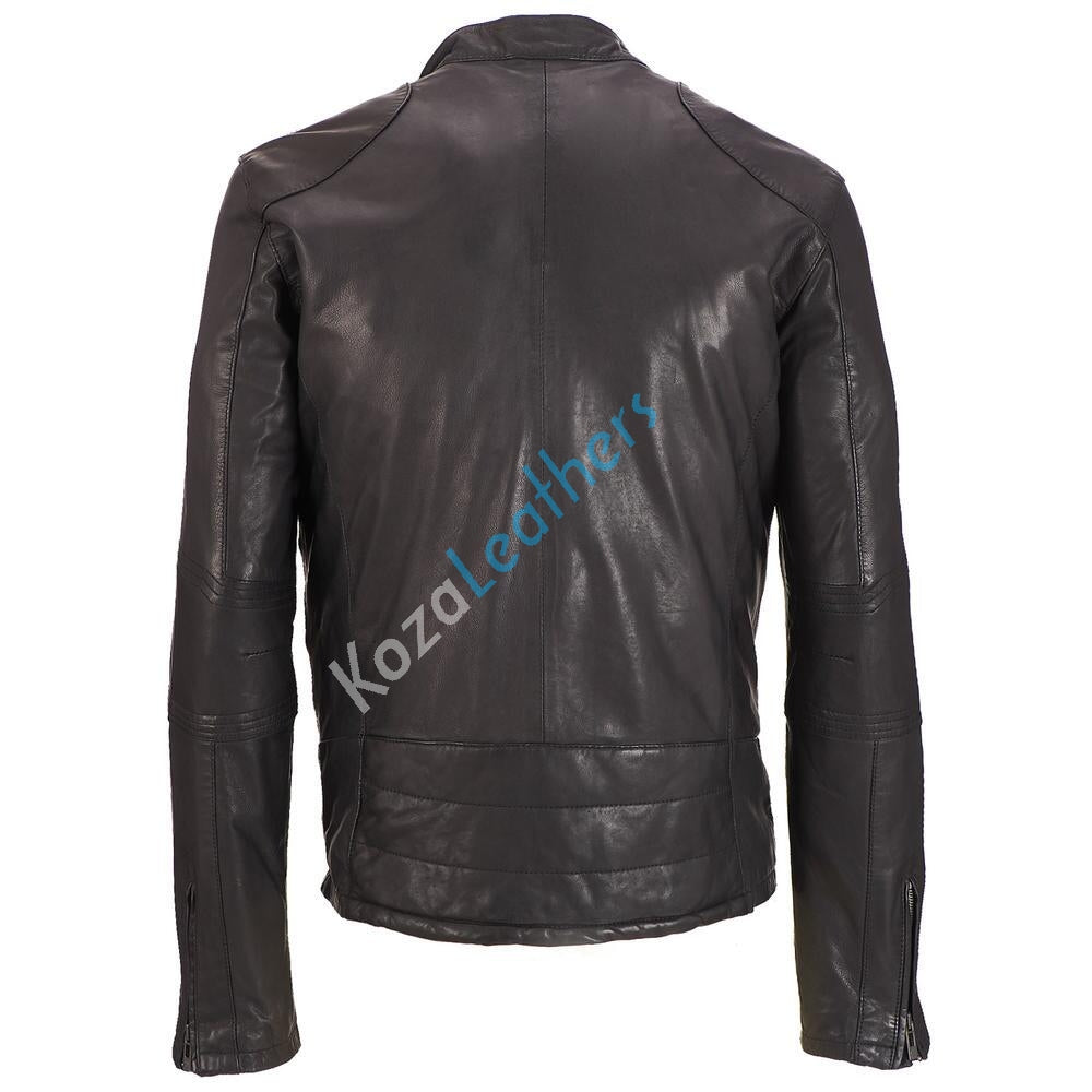 Biker Jacket - Men Real Lambskin Motorcycle Leather Biker Jacket KM198 - Koza Leathers