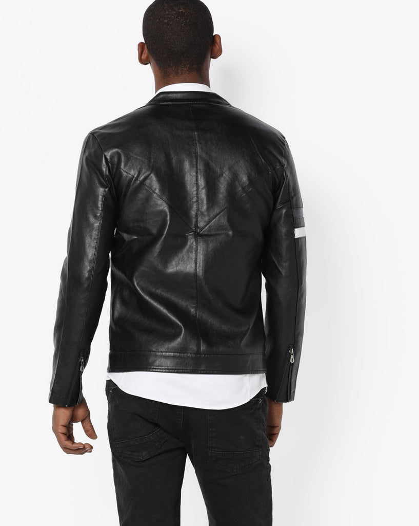 Biker Jacket - Men Real Lambskin Motorcycle Leather Biker Jacket KM685 - Koza Leathers
