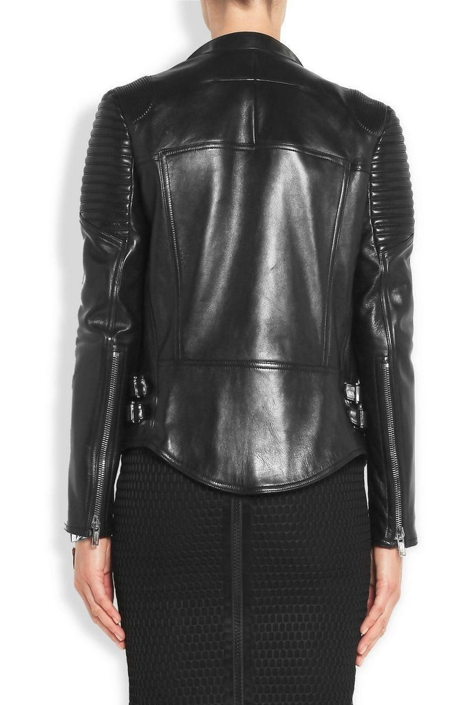 Women Real Lambskin Leather Biker Jacket KW061