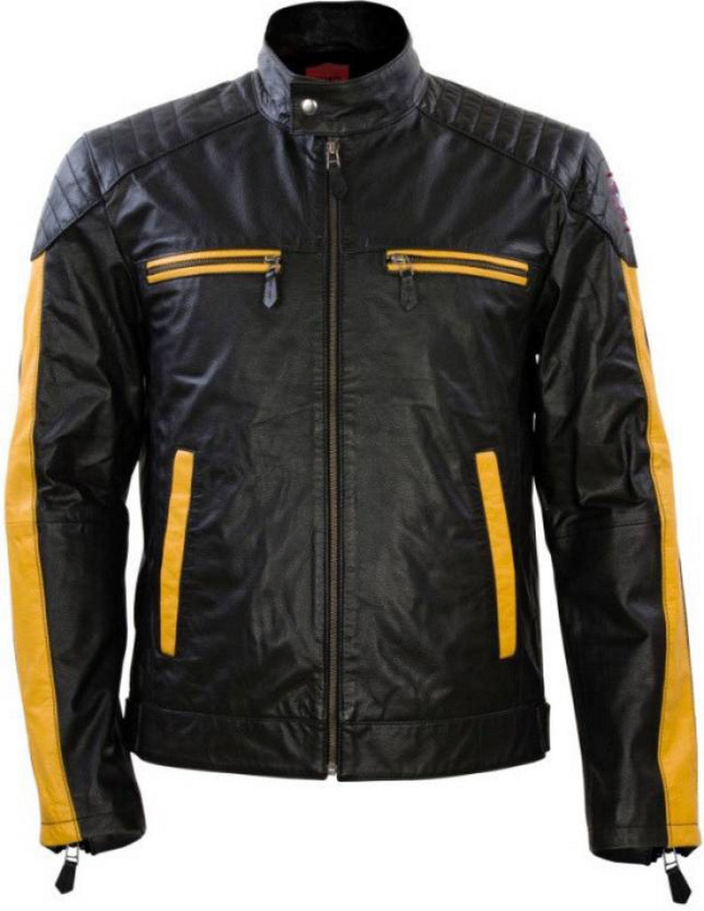 Biker Jacket - Men Real Lambskin Motorcycle Leather Biker Jacket KM466 - Koza Leathers