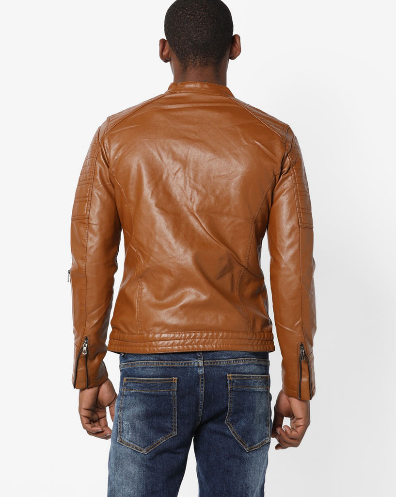 Biker Jacket - Men Real Lambskin Motorcycle Leather Biker Jacket KM686 - Koza Leathers