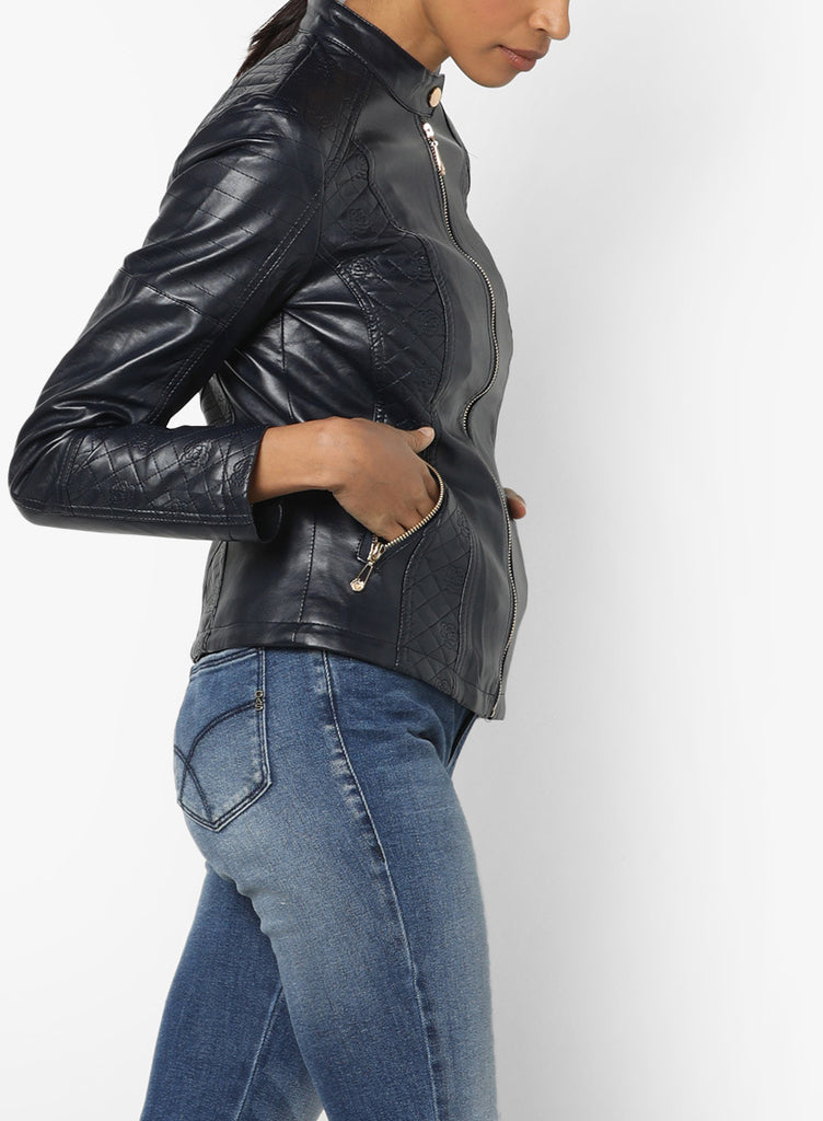 Biker / Motorcycle Jacket - Women Real Lambskin Leather Biker Jacket KW561 - Koza Leathers