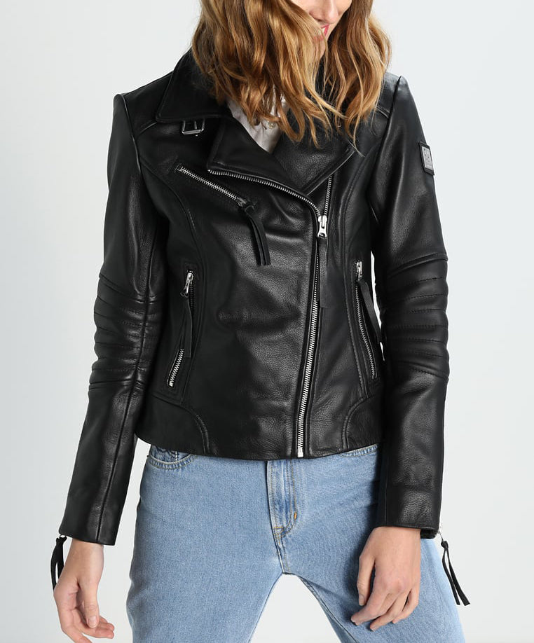 Biker / Motorcycle Jacket - Women Real Lambskin Leather Biker Jacket KW271 - Koza Leathers