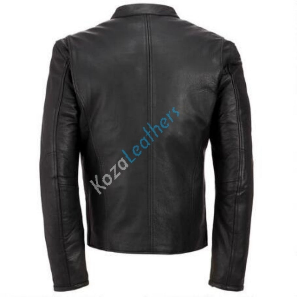 Biker Jacket - Men Real Lambskin Motorcycle Leather Biker Jacket KM201 - Koza Leathers