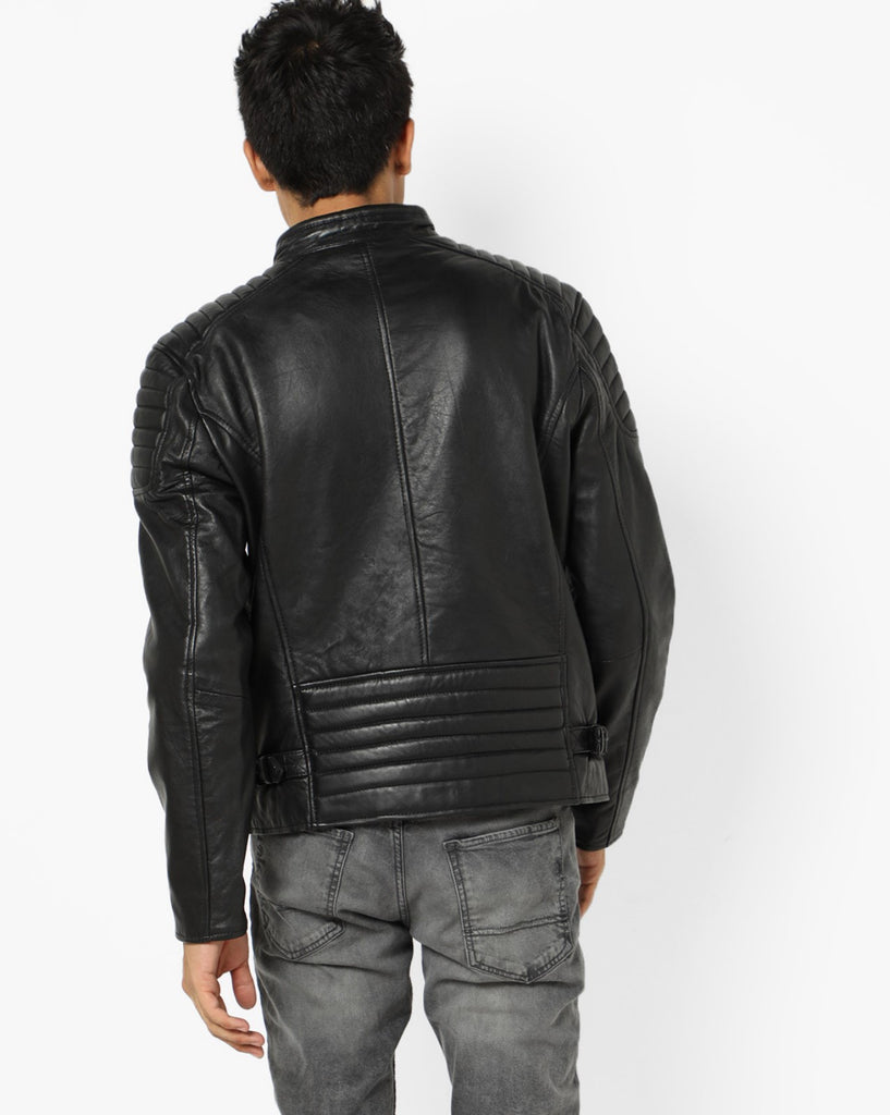 Biker Jacket - Men Real Lambskin Motorcycle Leather Biker Jacket KM688 - Koza Leathers