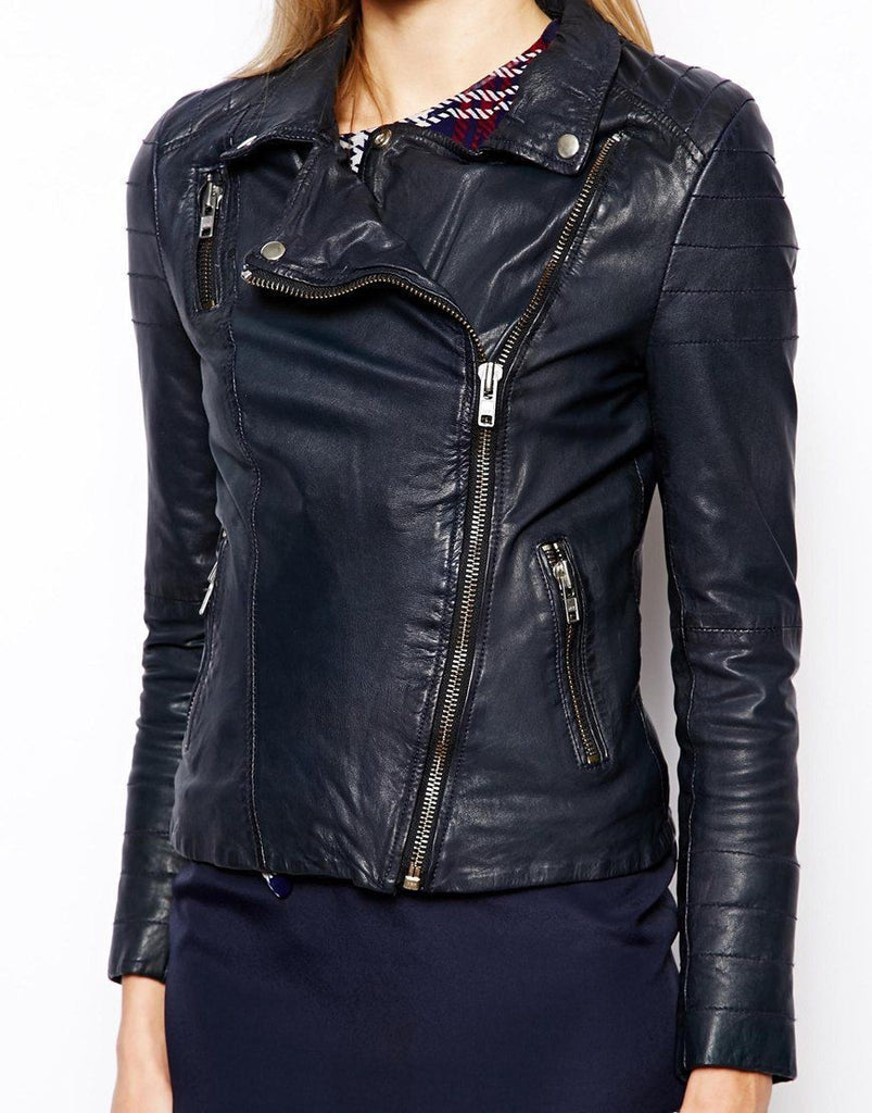 Biker / Motorcycle Jacket - Women Real Lambskin Leather Biker Jacket KW064 - Koza Leathers