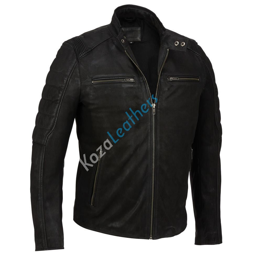Biker Jacket - Men Real Lambskin Motorcycle Leather Biker Jacket KM202 - Koza Leathers